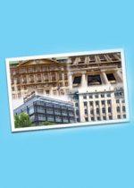 """Coverbild des Films """"Bankengeschichte"""" - zeigt eine Postkarte mit 4 Bankgebäuden auf einem blauen Hintergrund"""