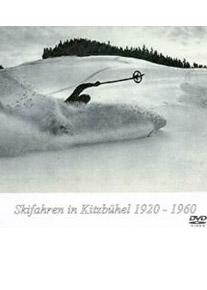"""Coverbild des Films """"Schifahren in Kitzbühl"""" - Ein Schifahrer bei Vollbremsung am Ende einer Piste in Schwarz-Weiss"""