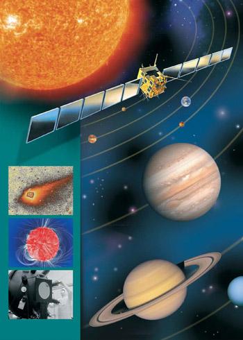 """Coverbild des Films """"Sonnensystem-Forschung"""" - Bild unseres Sonnensystems und eines Satelliten"""