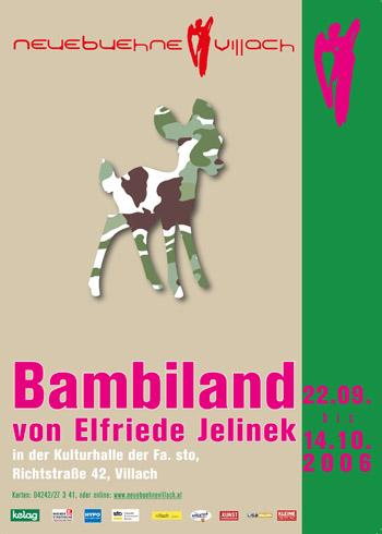 """Plakat des Bühnenstücks """"Bambiland"""" von Elfriede Jelinek - zeigt eine Rehkitzsilhouette gefüllt mit schwarz-weiss-grünem camouflage und weiteren Aufführungsdetails"""